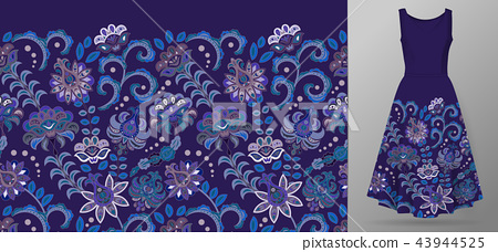 Vertical seamless fashion background. Women's long dress mock up with bright seamless hand drawn 43944525