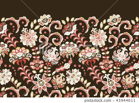 Handcrafted motifs - seamless floral border with stylized flowers. Horizontal vector fringe. White 43944611