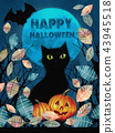 Happy Halloween greeting card. 43945518