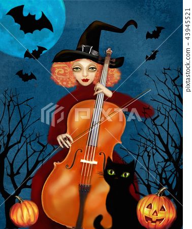 Witch plays the cello in the dark forest. 43945521