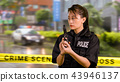 Asian American Police Officer at Crime scene  43946137