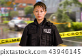 Asian American Police Officer at Crime scene  43946145