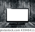 Tv monitor on the wood wall 43946411