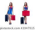 Woman with suitacases preparing for summer vacation 43947015