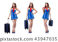 Woman with suitacases preparing for summer vacation 43947035