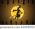 Halloween witch broom moon zombie hand vector 43948504