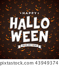 Happy Halloween vector illustration with typography lettering on scary face pattern background 43949374