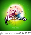 Happy Halloween illustration with moon, flying bats and pumpkin hand on green background. Vector 43949387