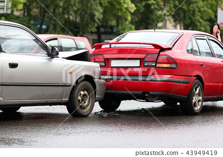 Accident of red and silver car after rain 43949419