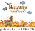 Watercolor Halloween illustration, Black old house, Pumpkin 43949794