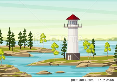 Summer Landsape With Lighthouse 43950366