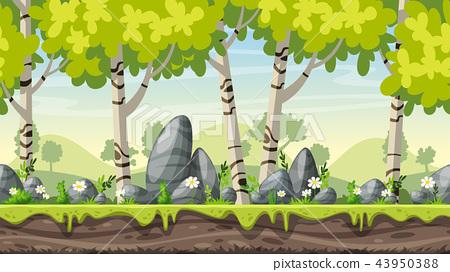 Seamless Cartoon Spring Landscape 43950388