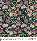 Seamless floral background. Pink flowers and leafs on dark background. Vector illustration. 43950974