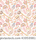 Hand drawn flower seamless pattern. Colorful seamless pattern with fantasy flowers and leaves 43950981