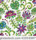 Hand drawn flower seamless pattern. Colorful seamless pattern with fantasy flowers and leaves 43950987