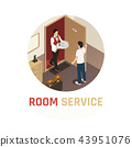 Hotel Service Isometric Composition 43951076