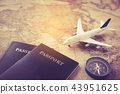Passport, plane, compass placed on map  43951625