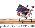 Mini shopping cart on table for work  credit card 43952008