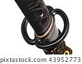 Tsuba hand guard of Japanese sword made by steel  43952773