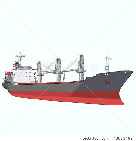 Vector dry cargo ship. 43955468
