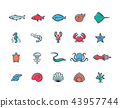 Set of fish and sea food colored line icons. Shrimp, oyster, squid, crab, ell, fugu, lobster, carp 43957744