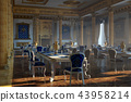 The ballroom and restaurant in classic style. 3D render. 43958214