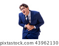 Sick and unhappy businessman isolated on white background  43962130