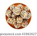 Taro Sesame Puff on white background 43962627