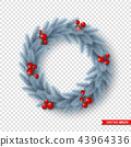 Christmas wreath with realistic fir-tree branches and berries. Decorative design element for holiday 43964336