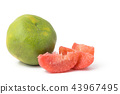 red pomelo pulp fruit isolated on white background 43967495