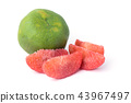 red pomelo pulp fruit isolated on white background 43967497