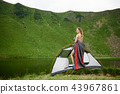 Attractive naked woman in camping 43967861