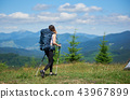 Sporty woman tourist with backpack and trekking sticks hiking in the mountains 43967899
