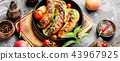 Grilled sausages in frying pan 43967925