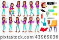 Teen Girl Poses Set Vector. Cute, Comic. Joy. Smoking Cannabis. VR Glasses. For Postcard 43969036