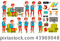 Teen Boy Poses Set Vector. Red Head. Fat Gamer. Fun, Cheerful. For Web, Poster, Booklet Design 43969048