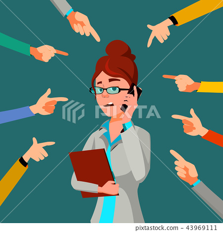 Victim Business Woman Vector. Public Censure. Scapegoat. Bullying Worker. Hands Pointing Finger 43969111