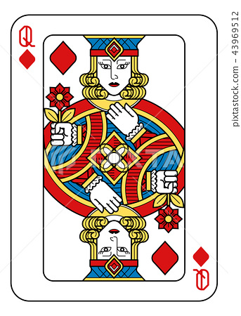 Playing Card Queen Diamonds Yellow Red Blue Black 43969512