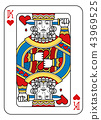 Playing Card King of Hearts Yellow Red Blue Black 43969525