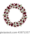 Floral wreath of peony flowers with copy space 43971357
