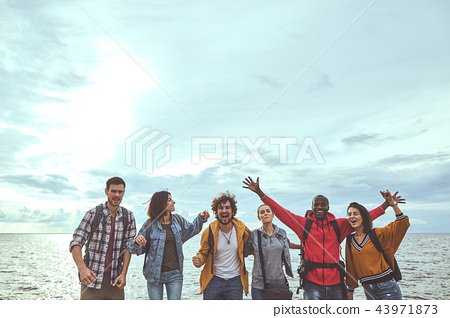 Six folks are happy about their journey to seaside 43971873