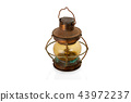 Retro copper kerosene lantern closeup isolated 43972237