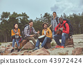 Tourists is sitting on the beach with instruments 43972424