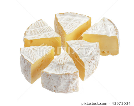 Camembert cheese segments isolated on white background 43973034