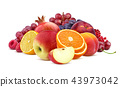 Heap of red fruits and berries isolated on white background 43973042