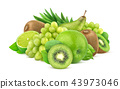 Green fruits and berries isolated on white background 43973046