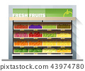 Fresh fruits display on shelf in supermarket 43974780