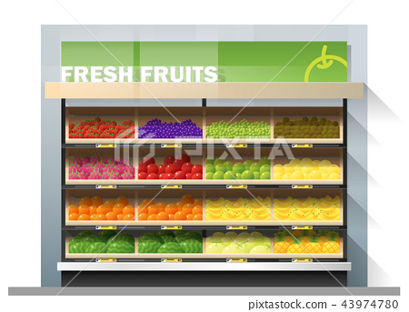 Fresh fruits display on shelf in supermarket 43974780