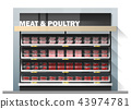 Fresh meat display on shelf in supermarket 43974781