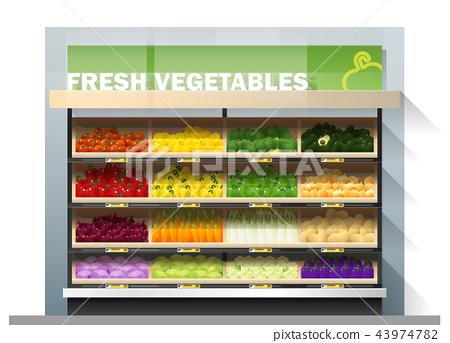 Fresh vegetables display on shelf in supermarket 43974782